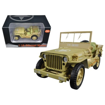 US Army WWII Jeep Vehicle Desert Color 1/18 Diecast Model Car by American (Stand Diorama)