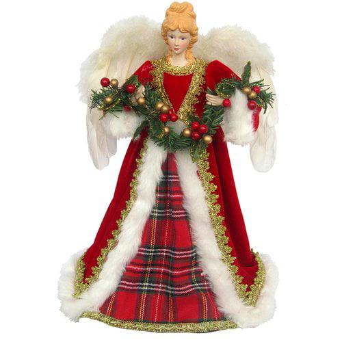 The Holiday Aisle Christmas Plaid Angel Tree Topper