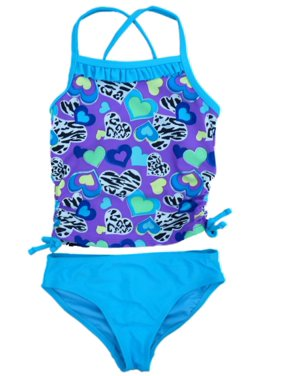 c6c7d92e52579 Product Image Angel Beach Girls Blue & Purple Heart Print Tankini Swimming  Suit Swim 2 PC