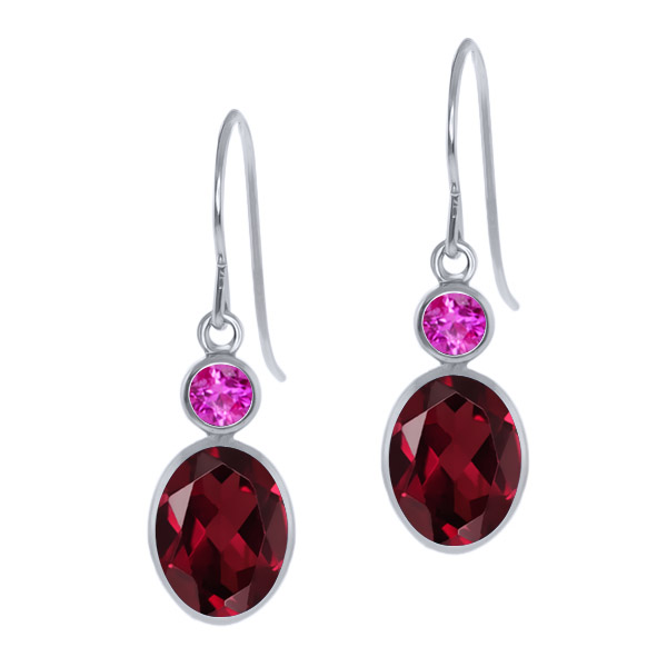 3.06 Ct Oval Red Rhodolite Garnet Pink Sapphire 14K White Gold Earrings by