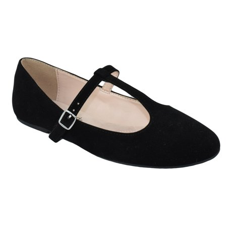 City Classified Women Ballet Flats Mary Jane Shoes Ankle T Strap Duffel H Black Suede 5 5