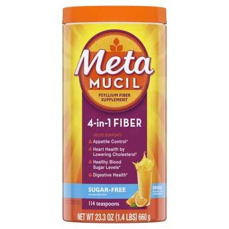Metamucil Psyllium Fiber Sugar-Free Supplement Powder - Orange Smooth - 23.3oz