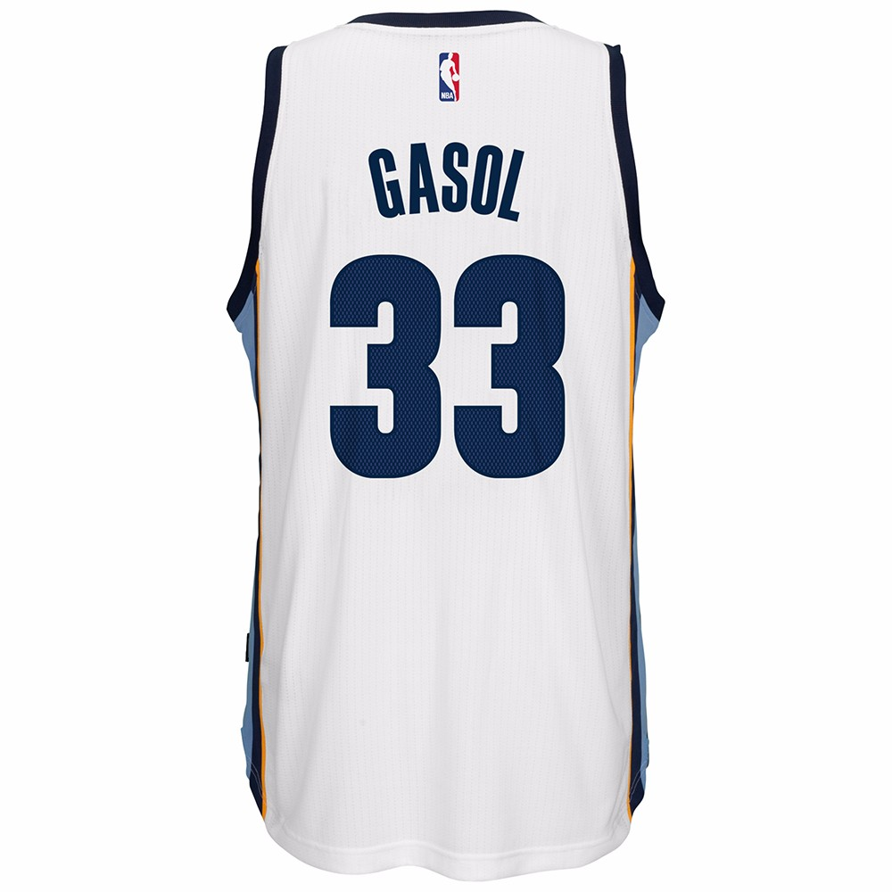 Marc Gasol Memphis Grizzlies NBA Adidas White Official Climacool Home Swingman Jersey For Men