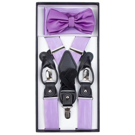 Men's Solid Color Convertible Suspenders, Bow Tie and Hanky - Yellow Bow Tie And Suspenders