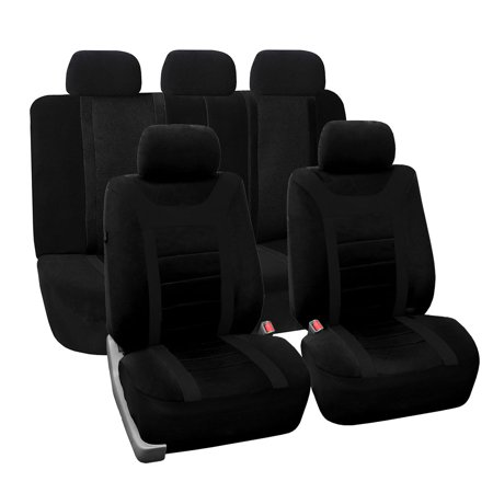 FH Group Black Airbag Compatible and Split Bench Sports Car Seat Cover, Full