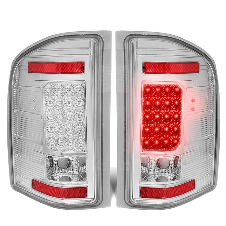 For 2007 to 2014 Chevy Silverado 1500 / 2500 / 3500 (HD) LED Tail Brake Brake Light / Lamps Chrome Housing Clear lens 08 09 10 11 12 13 (11 Piece Brake)