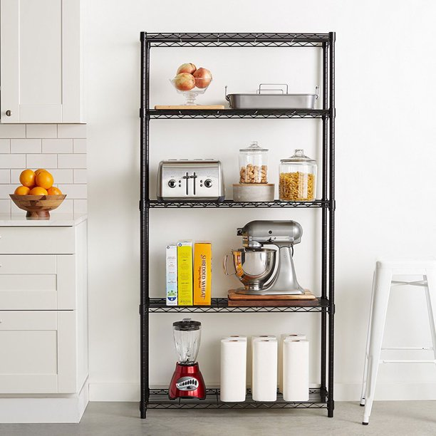 Clearance 5 Tier Black Metal Shelves