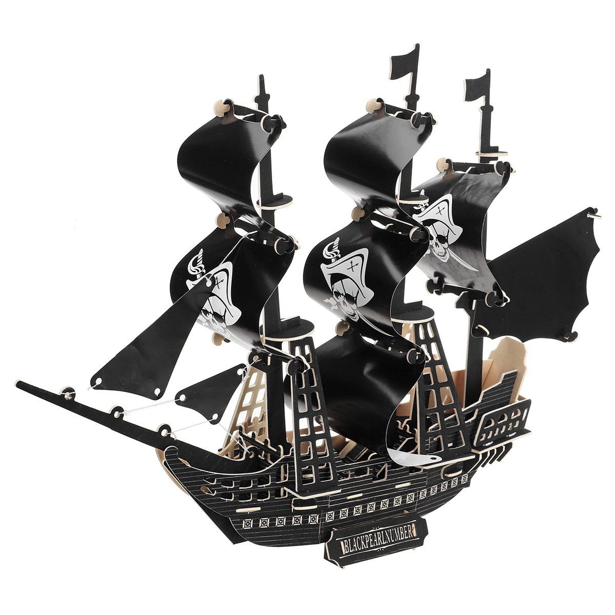 Black Pearl Pirate Ship 3d Puzzle Child Boys Model Paper Diy Educational Toys 3d Puzzles Puzzles