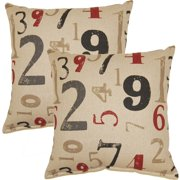 FHT Numerology Charcoal 17-inch Throw Pillow (Set of 2)