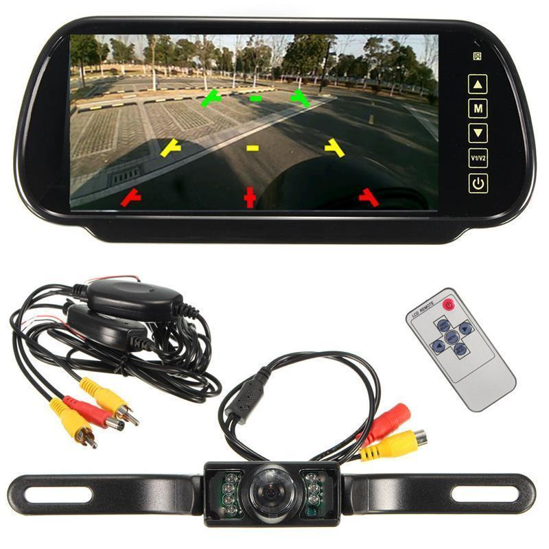 "iMeshbean 7"" LCD Mirror Monitor+Wireless Car Reverse Rear View Backup Camera Night Vision"