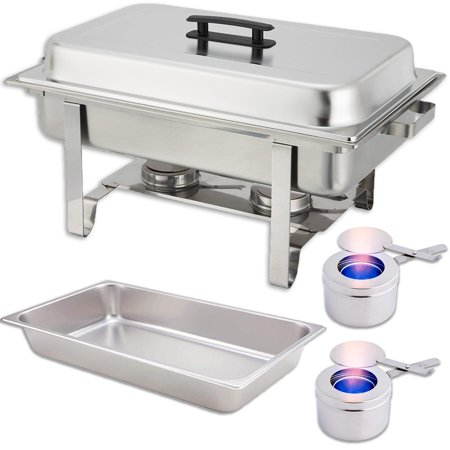 Chafing Dish Set — Water Pan + Food Pan (8 qt) + Frame + 2 Fuel Holders - Stainless-Steel Warmer Kit (Pan Warmers)