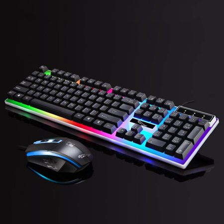 TSV Gaming LED Wired Keyboard and Mouse Combo with Emitting Character Usb Mouse Multimedia Keys Rainbow Backlight Mechanical Feeling For Desktop Computer, (Best Portable Keyboard For Laptop)