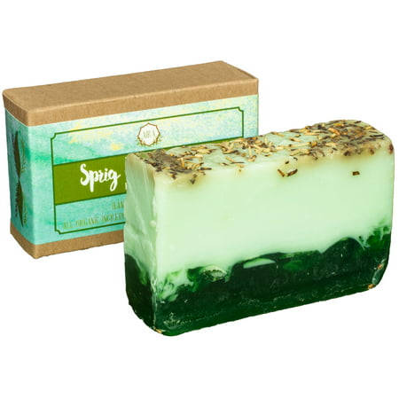 Aira Handmade Organic Soap - Herbal Body Soap Infused with Rosemary, Spearmint, Poppy Seeds - Certified Organic Ingredients & Therapeutic Essential Oils - No-Chemical, Vegan Handmade Soap (4 Ounces)