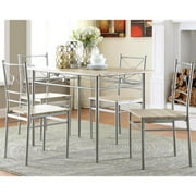 A Line Furniture Glanna Comtemporary X Motifs Brushed Silver 5-piece Dining set