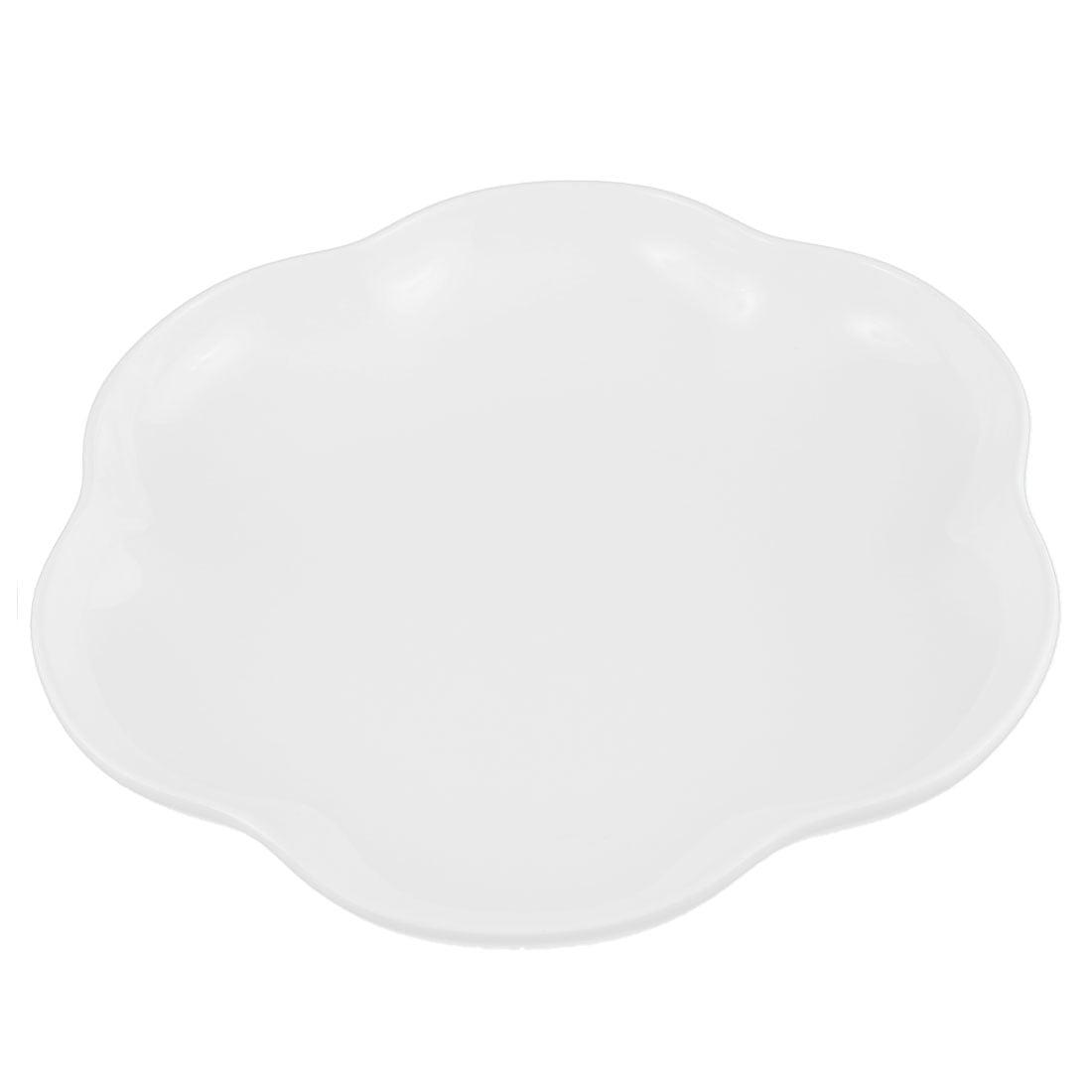Unique Bargains Home Plastic Lotus Shape Fruits Dessert Dish Plate White by
