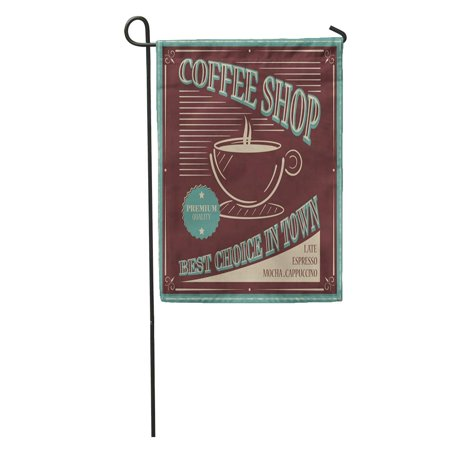 POGLIP Blue Americano Coffee Retro Best Choice in Town Brown Antique Garden Flag Decorative Flag House Banner 12x18 inch - image 1 of 2