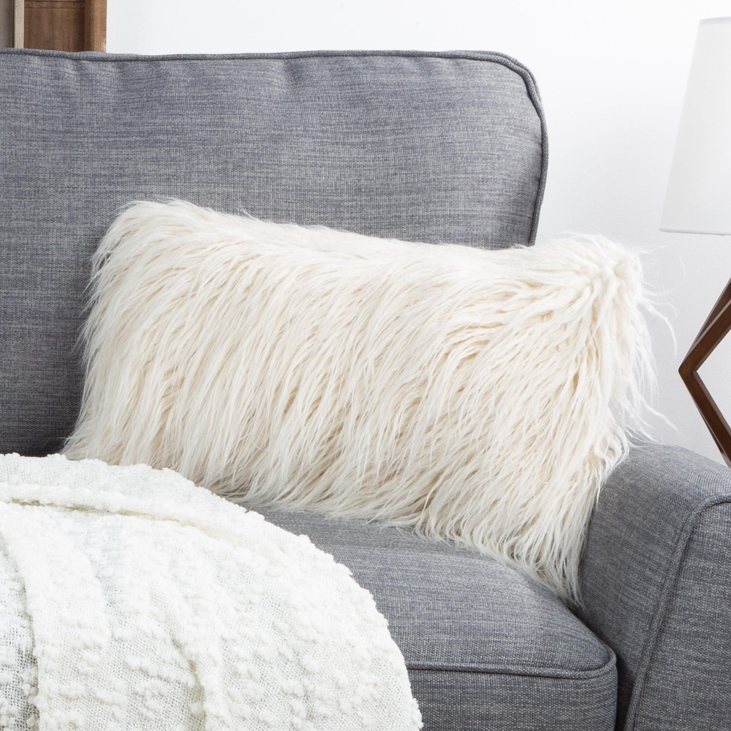 Somerset Home Mongolian Faux Fur Lumbar Pillow â 12x20â Cover Insert Ivory Walmart Com Walmart Com