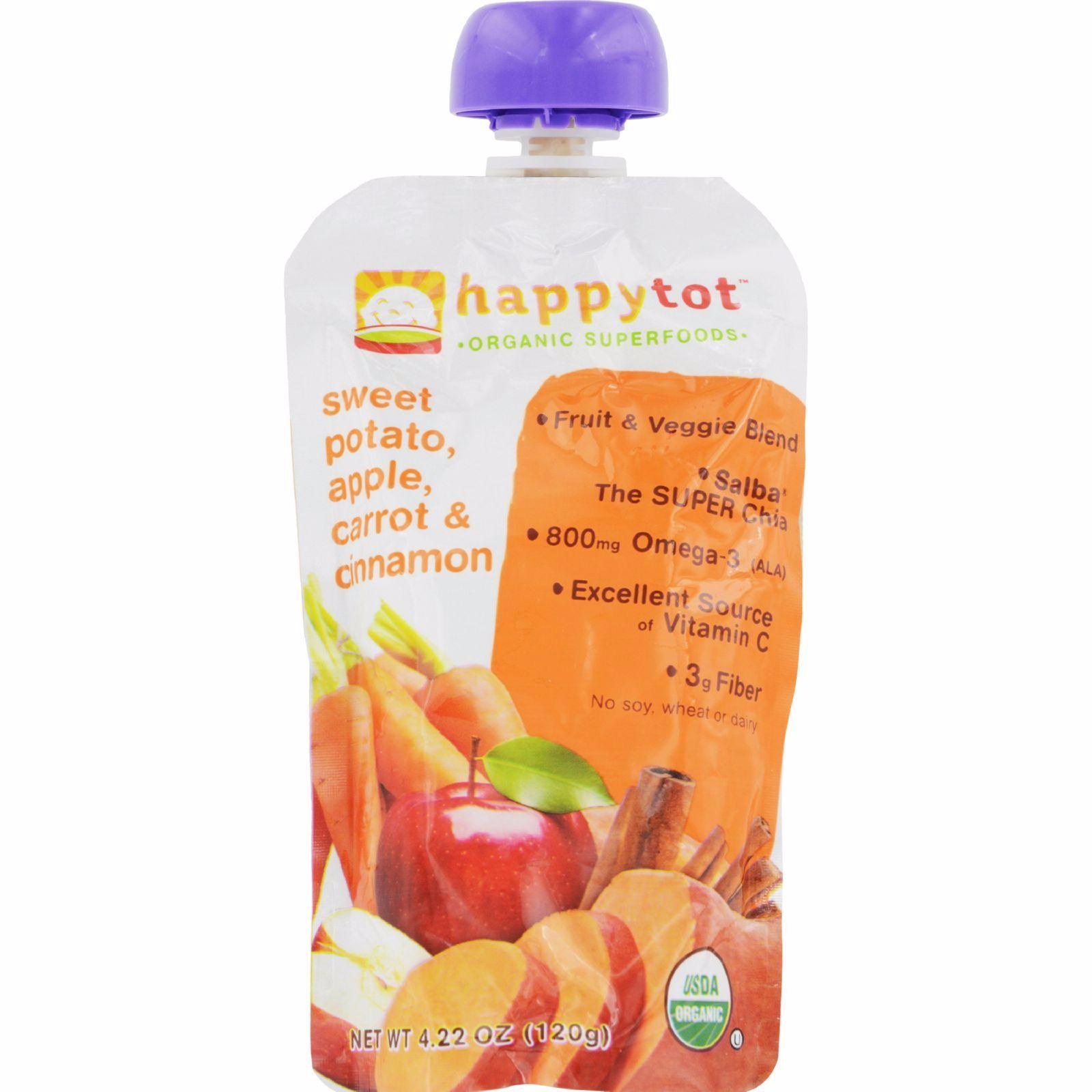 Happy Baby Happytot Organic Superfoods Sweet Potato Apple Carrot And Cinnamon - 4.22 Oz - Pack of 16