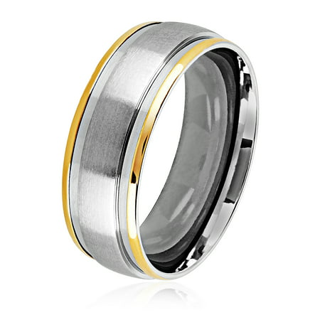 Stainless Steel Two Tone Ring - Two Tone Satin Stainless Steel Grooved Comfort Fit Ring (8mm)