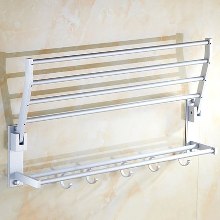 Double-deck Aluminum Bath Shower Towel Shelf Rack Holder with 5 Hooks 60cm