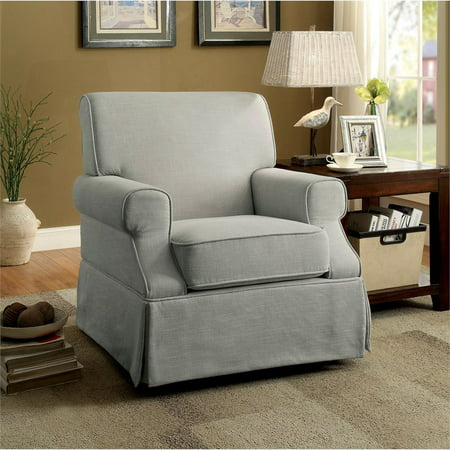 Tremendous Furniture Of America Fern Linen Swivel Glider Chair In Gray Caraccident5 Cool Chair Designs And Ideas Caraccident5Info