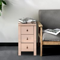 Zimtown Mirrored Glass 3-Drawers Nightstand Bedside End Table Storage for Bedroom, Living Room, Champagne