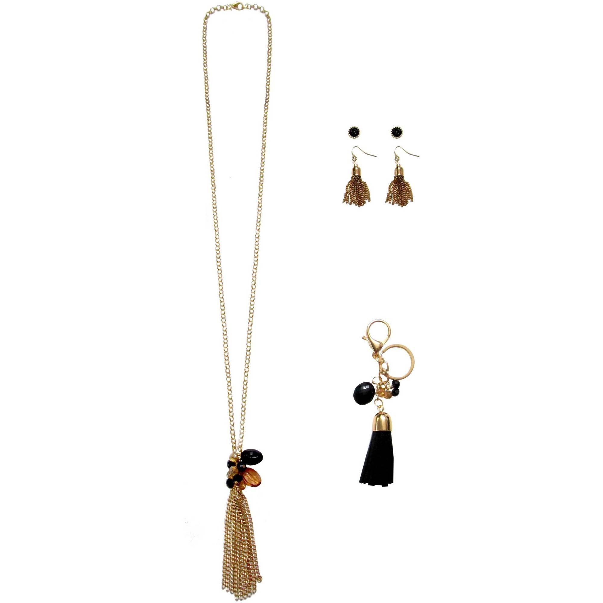 Gold-Tone Tassel Necklace, Earrings and Tassel Keychain Gift Set, 3-Piece
