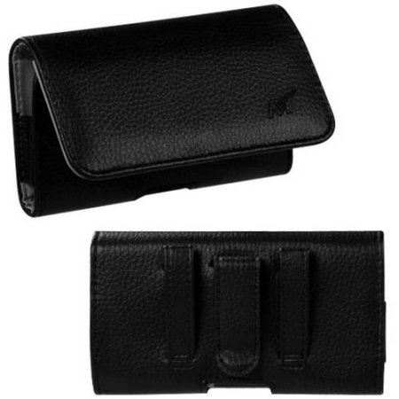 MUNDAZE Black Leather Belt Clip Pouch Carrying Case for Samsung Galaxy Note 8
