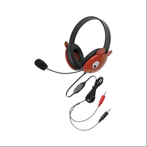 Califone 2810BE-AV Califone Stereo Headphone Bear W/ Mic Dual 3.5mm Plug Via Ergoguys - Stereo - Brown - Mini-phone - Wired - 32 Ohm - 20 Hz - 20 kHz - Nickel Plated -