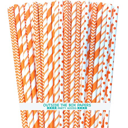 Paper Straws - Orange White - Stripe Chevron Polka Dot - 100 Pack