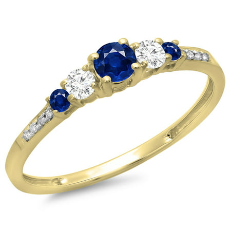 Dazzlingrock Collection 14K Round Cut Blue Sapphire & White Diamond Ladies Bridal 5 Stone Engagement Ring, Yellow Gold, Size 6.5