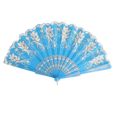 Lady Party Plastic Rim Fabric Flower Prints Chinese Style Folding Hand Fan Blue - Plastic Hand Fans