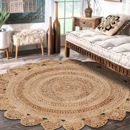 - LR Home Natural Jute Natural Round Indoor Rug (6' x 6')