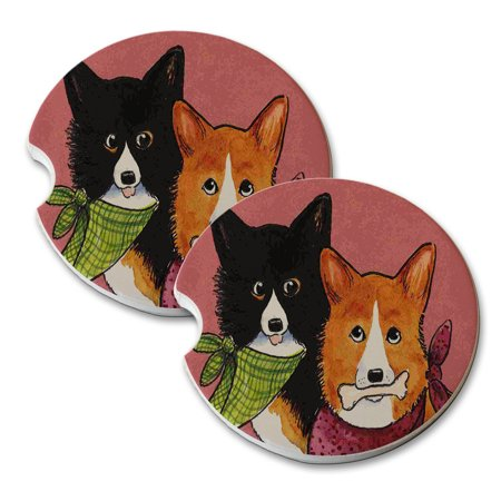 KuzmarK Sandstone Car Drink Coaster (set of 2) - Welsh Corgi Wanna Share Dog Art by Denise Every