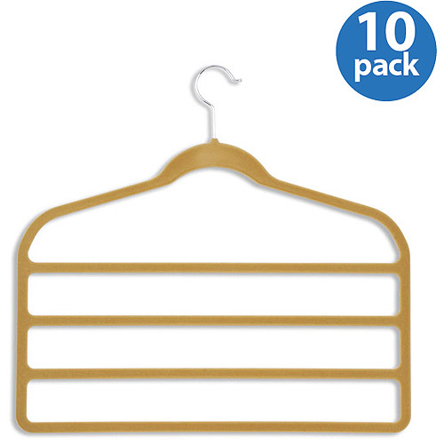 Honey-Can-Do Velvet Touch 4-Step Pant Hanger, Camel, 10-Pack