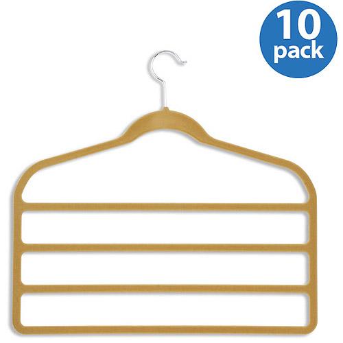 Honey-Can-Do Velvet Touch 4-Step Pant Hanger, Camel, 10-Pack