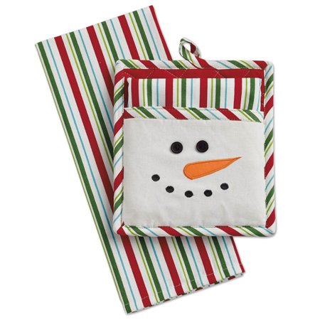 DII Snowman Potholder & Dishtowel Set, 100% Cotton