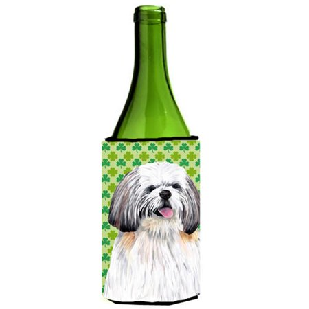 Shih Tzu St. Patricks Day Shamrock Portrait Wine bottle sleeve Hugger - 24 oz. - image 1 de 1