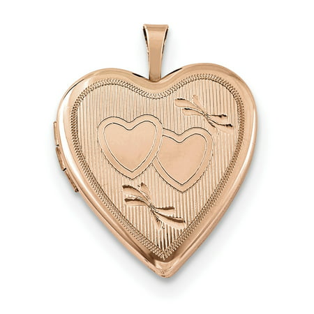 Designer Sterling Silver Rose Gold-Plated 20Mm Double Hearts Heart Locket (Width=20.00) Made In Hong Kong 20 Mm Double Hearts