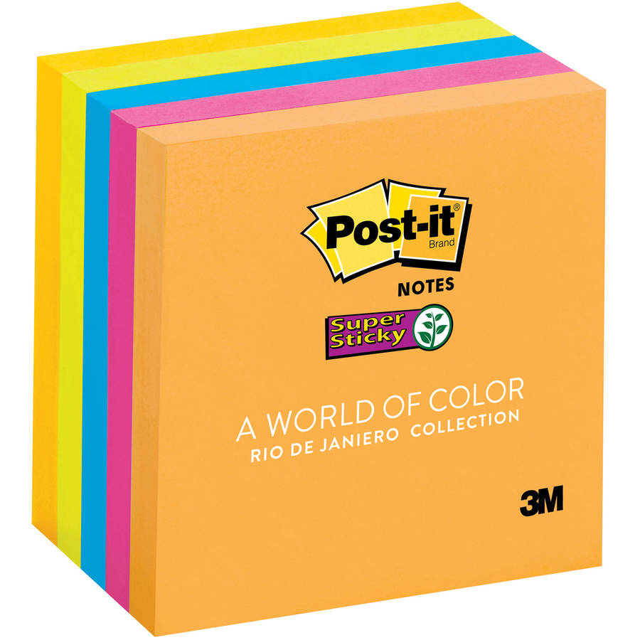 Post-it Notes Super Sticky Super Sticky Notes, 3 x 3, 5 90-Sheet Pads, Rio de Janeiro Collection
