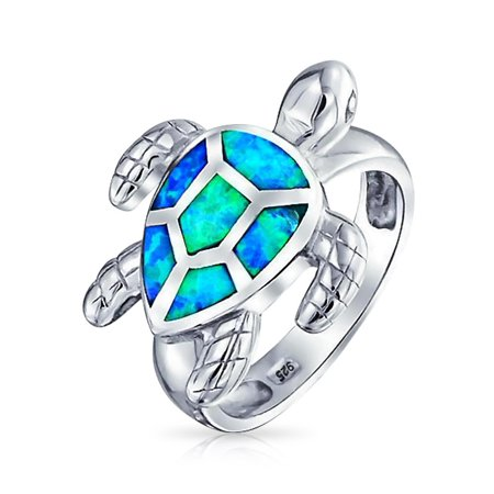 Nautical Tropical Beach Blue Created Opal Inlay Tortoise Sea Sand Turtle Ring For Women For Teen 925 Sterling - Beach Sea Glass Ring