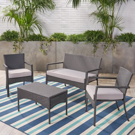 Davis Outdoor Wicker 4 Seater Chat Set with Cushions, Grey &