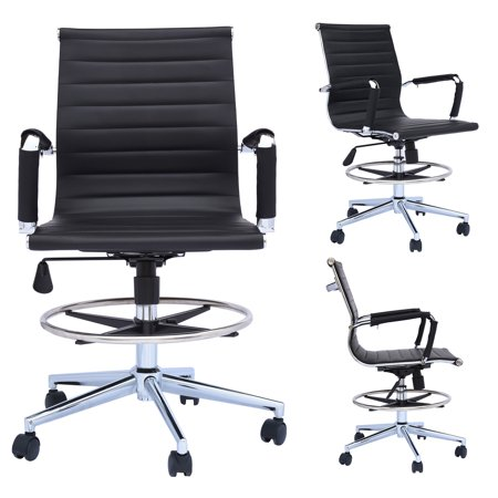 Amazing 2Xhome Office Chair Ribbed Mid Back With Wheels And Arms For Home Office Conference Room Tilt Ribbed Adjustable Height Chrome Swivel With Chrome Foot Lamtechconsult Wood Chair Design Ideas Lamtechconsultcom