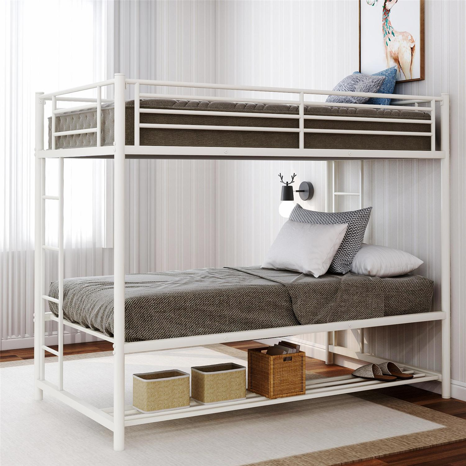 White Kids Bunk Beds Twin Over Twin Bunk Bed With Storage For Kids Teens Modern Metal Bed Frame With 2 Ladders And Guard Rails For Small Spaces No Box Spring Needed