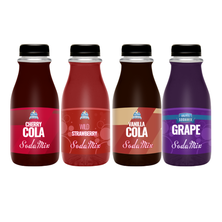 Flavors Four Pack | Ralph's Sodamix | Cherry Cola | Vanilla Cola | Grape | Wild Strawberry | Four 12oz (Wild Grape)