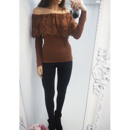 Lace Shoulder Button - Womens Off Shoulder Lace Sexy Emboridery Winter Thick Warm Sweater Button Shirts