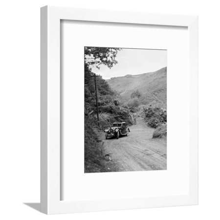 Falcon Frame Parts (1934 Riley Falcon saloon taking part in a motoring trial in Devon, late 1930s Framed Print Wall Art By Bill Brunell)