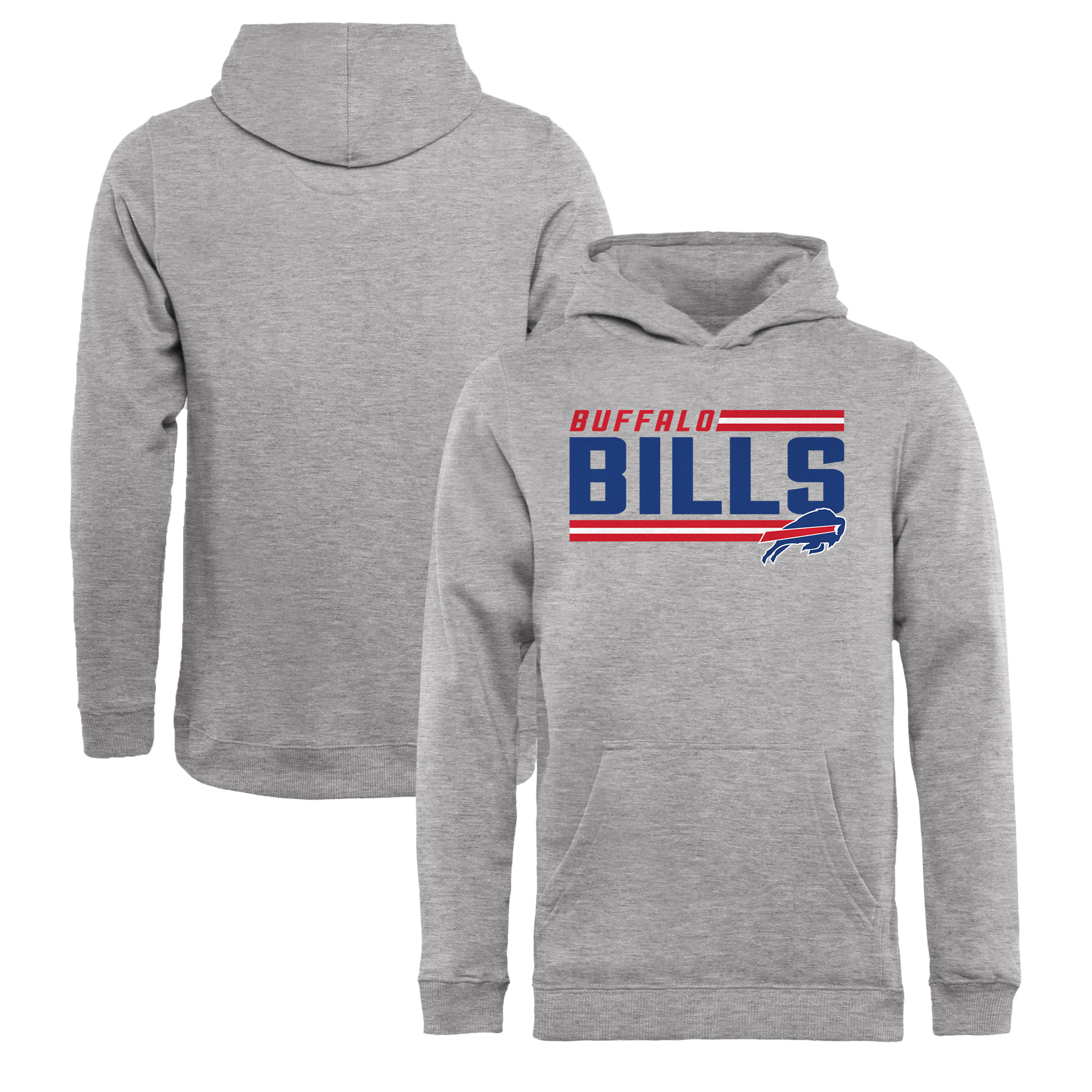 Buffalo Bills NFL Pro Line by Fanatics Branded Youth Iconic Collection On Side Stripe Pullover Hoodie - Ash