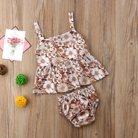 Baby Girls Sunflower Print Sundress+Briefs Shorts Beachwear Outfits - 40s Outfits