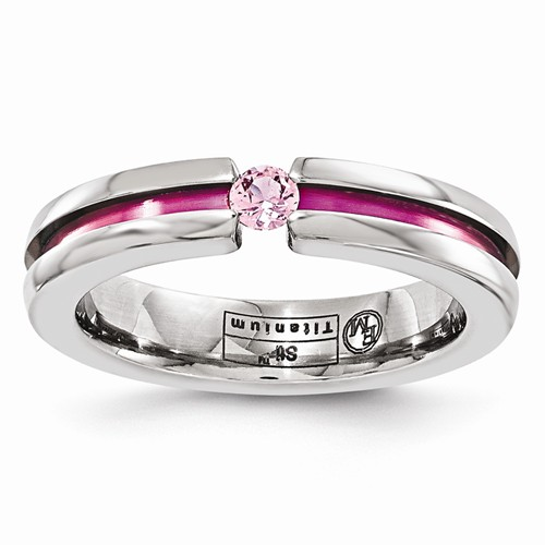 Edward Mirell Titanium Pink Sapphire & Anodized Grooved 4mm Band by Jewelrypot